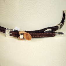 Justin Buckaroo Silver Plated Cowboy Leather Hatband Brown W/ Buckle 05149