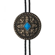 And West Brass with Turquoise Diamond Bolo BOL103