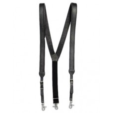 Nocona Basketweave Galluses - All Leather Suspenders DARK BROWN  N8512402