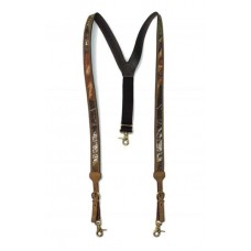 Nocona Basketweave Galluses - All Leather Suspenders BLACK N8512401