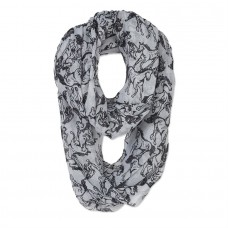Infinity Scarf Linear Horses Grey GG1036GR