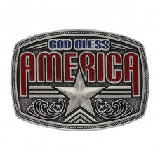 Attitude Antiqued God Bless America Star Buckle A579S