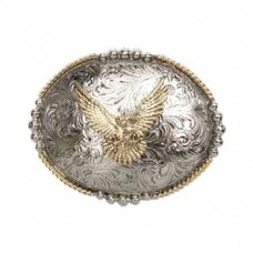 And West Silver Oval with Antique Gold Eagle Belt Buckle 521