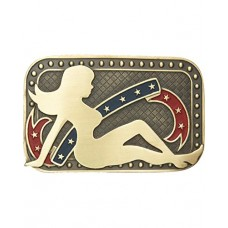 And West Men's Andwest Patriotic Mud Flap Girl Belt Buckle 548-00