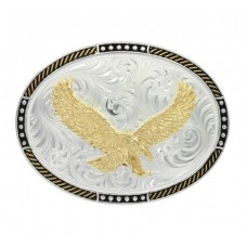 And West Two Tone Stop Ties Oval Belt Buckle with Soaring Eagle 597