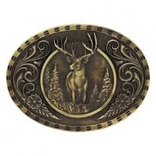 Montana Silversmiths Heritage Outdoor Series Wild Stag Carved Belt Buckle Gold A507C