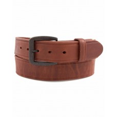 3D Western Mens Belt Leather Heavyweight Creased Edge Brass Buckle Brown 1147