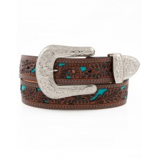 "3D Angel Ranch Women's 1 1/2"" Floral Belt - Brown/Turquoise A1061"