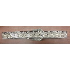 Angel Ranch Women's Brown Leather Belt with Rhinestone Scalloped Lace Overlay A3650
