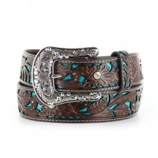 Ariat Women's Turquoise Inlay Floral Tooled Belt A1513402