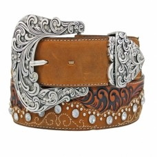 Tony Lama Womens Brown Kaitlyn Crystal Belt C50499