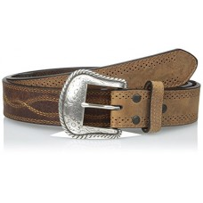 Dan Post Men's Western Stitch Detail Oil Tanned Leather Belt, Brown 63652