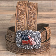 Justin Floral Tooled Leather Belt American Pride Buckle Brown C30219