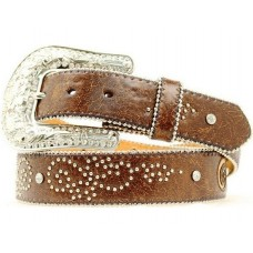 Nocona Western Belt Womens Fleur De Lis Bling Marbled Brown N3490402