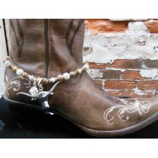 Brown Stone Band w/ Steer Head Charm Boot Bling 432802