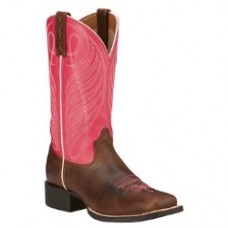 Ariat Womens Round Up Wicker & Hot Pink Boots 10016319