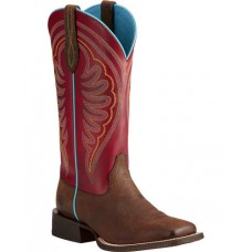 Ariat Women's Circuit Shiloh Brown/Red Cowgirl Boots - Square Toe 10021612