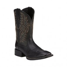 Ariat Men's Sport Western Wide Square Toe Boot, Size: 11 D, Black Deertan/Black Full Grain Leather 884849930090