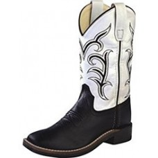 Old West Childrens Cowboy Boots Boys Girls Kids TPR Outsole Black White BSC1857