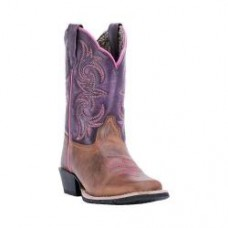 Dan Post Children's Boots Majesty Broad Square Cowboy Boot DPC3947 Brown/Purple Leather