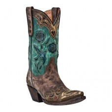 Dan Post Womens Brown and Teal Vintage Bluebird Cowboy Boots DP3544