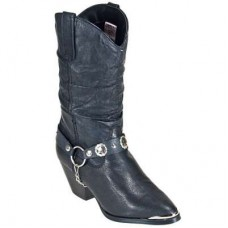 Dingo Womens Pigskin Leather Black Work Boots DI522
