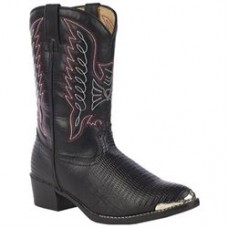 Durango Childrens  Black/Red Stitch with Toe Tip Boot BT940