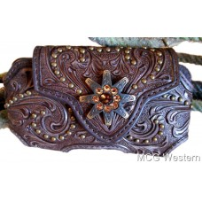 Nocona Western Phone Case Leather Spur Rowel Concho Studs Floral Brown 0686402