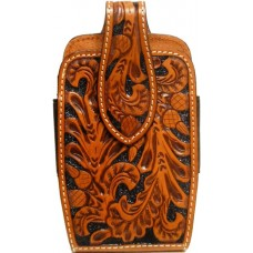 Western Tan Tooled Leather Cell Phone Holder PH653