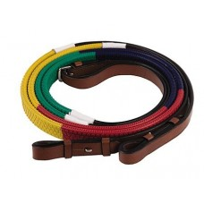 Henri De Rivel Rainbow Training Reins - Size:horse Color:green/navy/red/yellow 24136