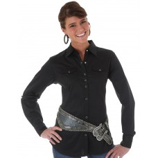 Wrangler Women's Long Sleeve Solid Snap Shirt - Black -LW1002X