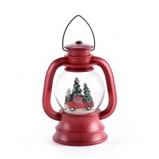 RAZ Imports Dogs in Red Truck Scene Lighted Water Lantern Christmas Snow Globe with Swirling Glitter 664132