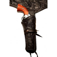 44/45 Caliber Black Western Cowboy Hollywood Style Hand Tooled Gun Holster and Belt GB-45BLK/38