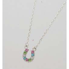 Cowgirl Glam Multi Color Horseshoe Necklace JN898MU