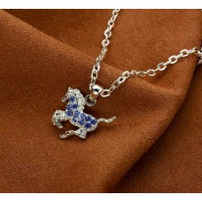 Cowgirl Glam Blue Crystal Horse Necklace JN896BL