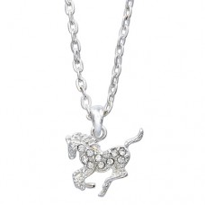 Cowgirl Glam Clear Crystal Horse Necklace JN896CL