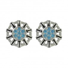 Buck stitch Flower Button Post Earrings ER3951