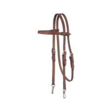 Tough-1 Headstall Single Ply Harness Leather Snap 5/8' Brown 42-1870
