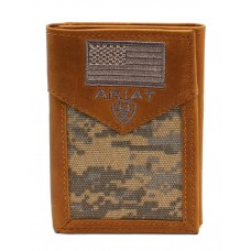 Ariat Western Mens Wallet Trifold Leather USA Flag Patch Logo Camo A3536628
