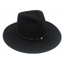 Black Creek 100% Crushable Wool Black Cowboy Hat With Stud Detail BC2012