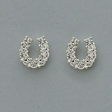 Cowgirl Glam Clear Horseshoe Earrings JE898CL